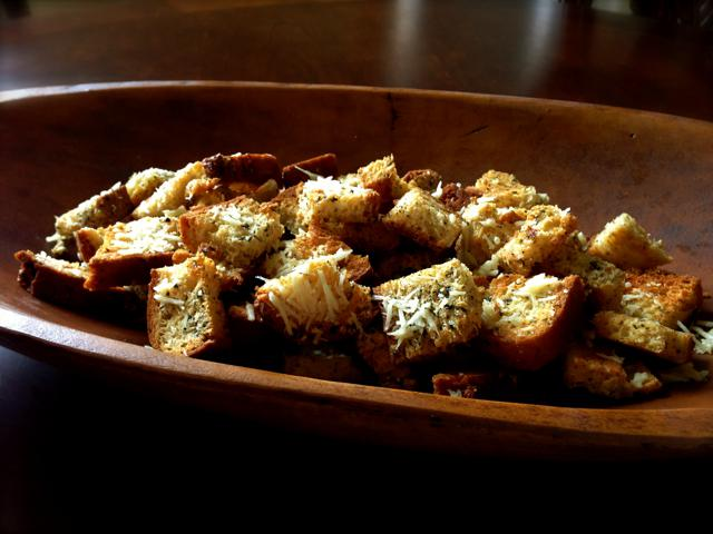 crunchy herb croutons