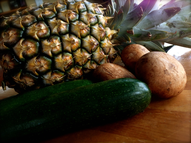 Pineapple, porcini mushrooms & zucchini for the skewers