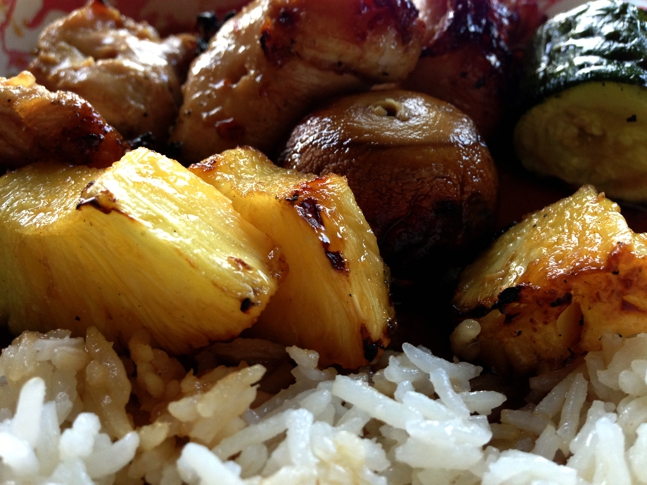 Yummy bites of chicken, succulent pineapple, mushrooms & zucchini from the skewer.