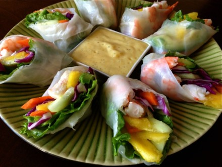 Spring Rolls with Spicy-Mango Dipping Sauce