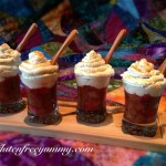 Diary-free whipped topping on Strawberry-rhubarb compote