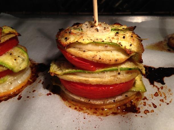 stacked tomato & potato side dish
