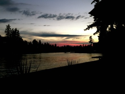 Peaceful sunset over Lake Tapps
