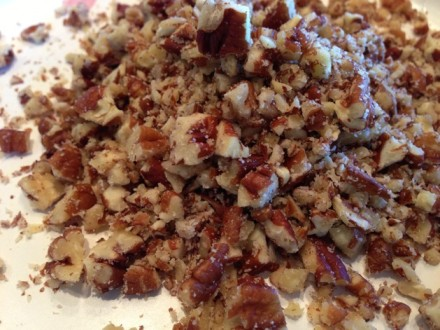 Chop pecans, walnuts, or any desired nut to be added to the dough. I used pecans.