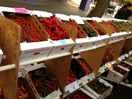 Boxes of peppers
