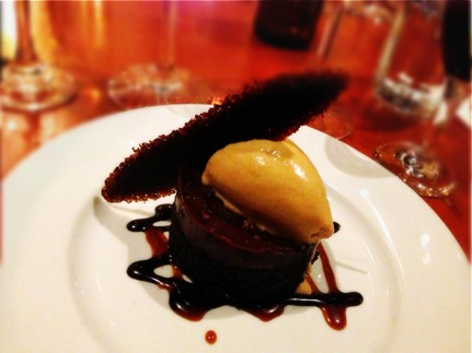 Flourless Chocolate Cake with Salted Caramel Gelato