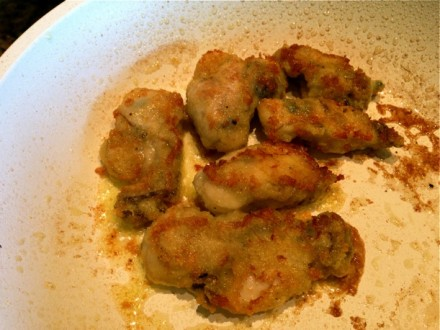 Pan-Fried Oysters Cooking