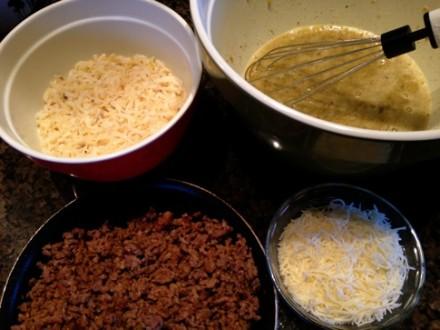 Ingredients for making Salsa Verde Egg Casserole