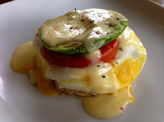 Gluten-free Tomato-Avocado Eggs Benedict