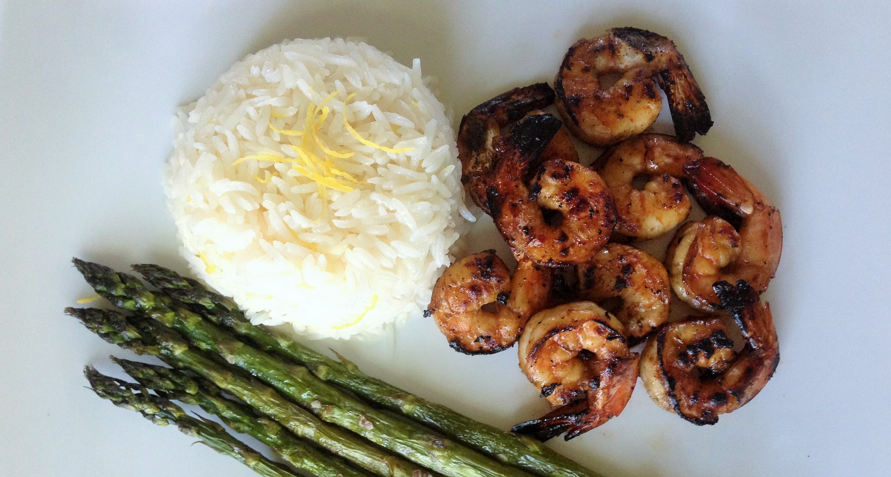 Jamaican Rum Fire-roasted Shrimp with Lemon Basmati Rice