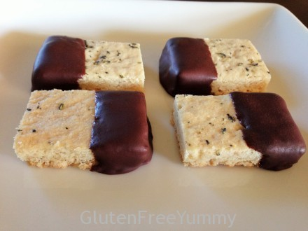 Dark Chocolate Dipped Honey-Lavender Shortbread (gf)
