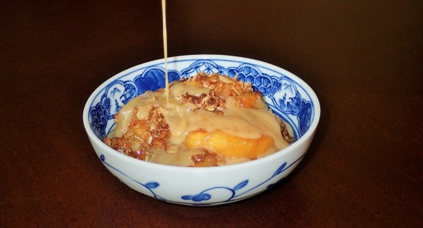 Peach Crisp with Maple-Rum Cream