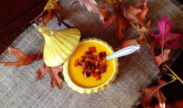 Winter Squash Soup with Chantrelles & Crisp Bacon