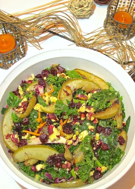 fall harvest kale and pear salad