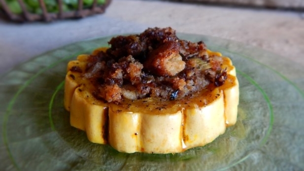 Gluten-free, Roasted Squash Rings & Apple-Sausage Stuffing, shared by Gluten-Free Yummy