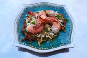 Asian Slaw & Shrimp over a Savory Pancake