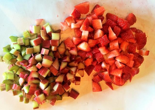 Cut Strawberries & Rhubarb