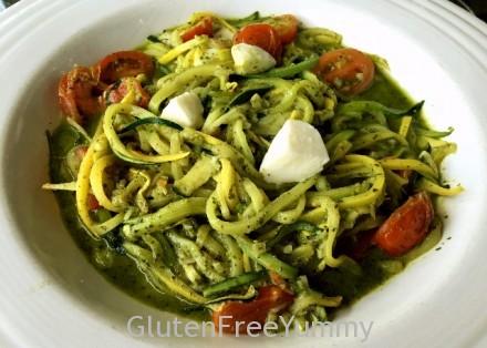 Zucchini & Yellow Squash Zoodles with Pesto