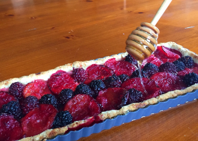 Honey Drizzled Plum Tart