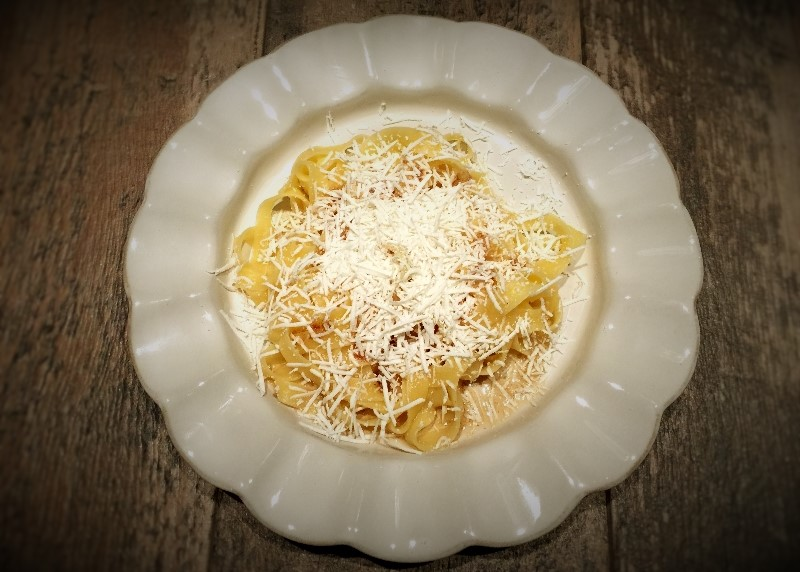 Browned Butter & Mizithra Cheese over Gluten-free Noodles