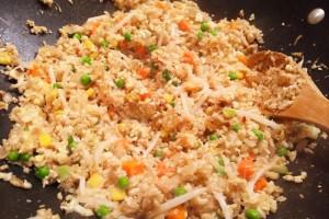 Making Cauliflower fried rice