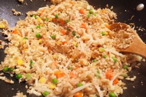 Making Cauliflower fried rice