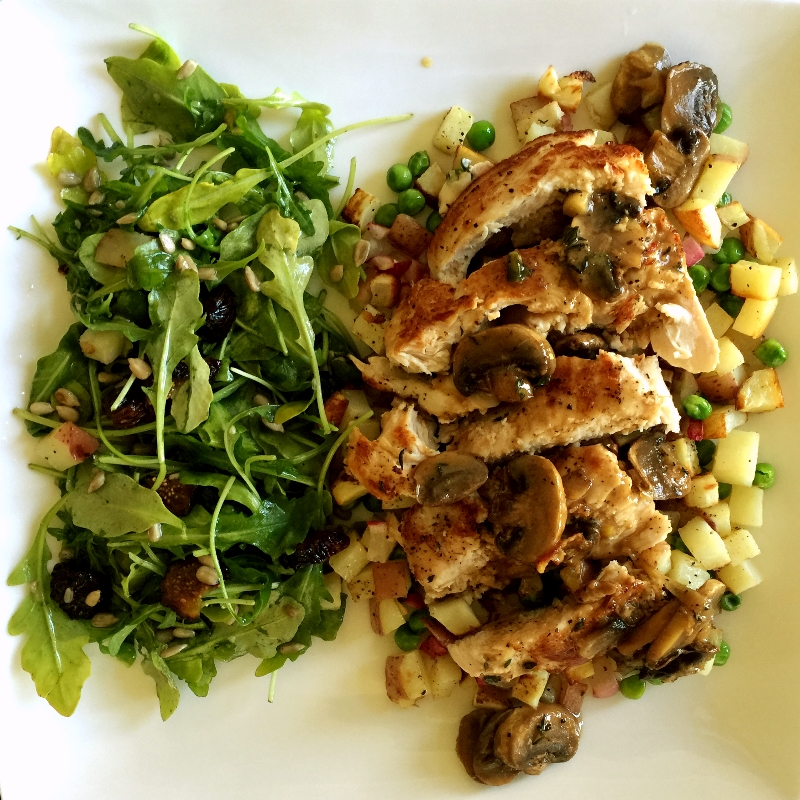 Buttermilk Brined Chicken with Arugula Fig Salad
