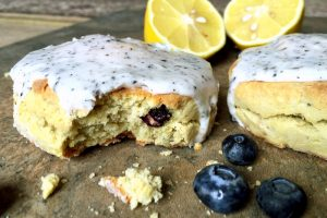GF Lemon Blueberry Scone with Earl Grey Lemon Glaze