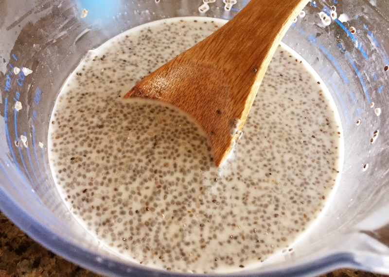 Mixing Chia with Coconut Milk